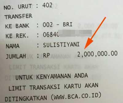 dapat order lagi transfer 2 juta