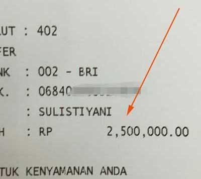 order transferan 2,5 juta
