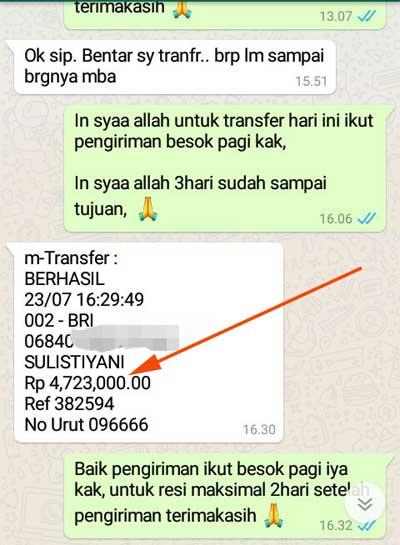 Order transfer 4,7 Juta BRI