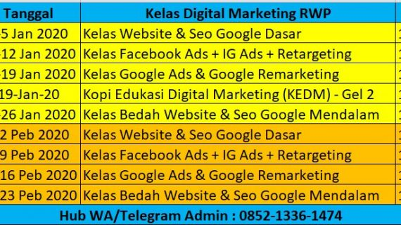jadwal digital marketing rwp